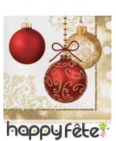 Déco de table de Noël imprimée boules or et rouge, image 3
