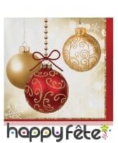 Déco de table de Noël imprimée boules or et rouge, image 4