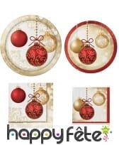 Déco de table de Noël imprimée boules or et rouge