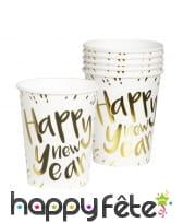 Déco de table Happy New Year blanche et dorée, image 3