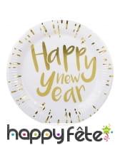 Déco de table Happy New Year blanche et dorée, image 2