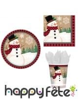 Décoration de table pour Noël Bonhomme de neige