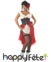 Déguisement de tavernière avec corset pour femme