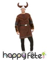 Déguisement de viking marron avec casque, adulte