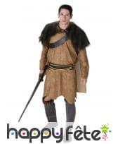 Déguisement de viking marron capeline fourrure