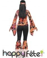 Déguisement femme hippie imprimé fleuri orangé, image 1