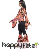 Déguisement femme hippie imprimé fleuri orangé, image 2