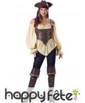 Déguisement femme pirate authentique, prémium