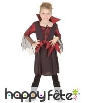 Déguisement fille vampire noir et bordeaux satiné