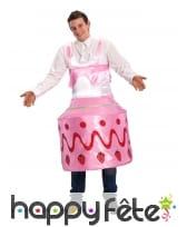Déguisement gâteau fraisier effet satiné adulte