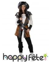 Déguisement gilet marron de femme Pirate