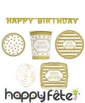 Déco Happy birthday dorée pour table anniversaire