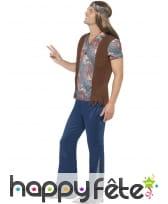Déguisement hippie homme imprimé bleu, image 2