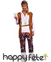 Déguisement hippie marron avec pantalon à motifs