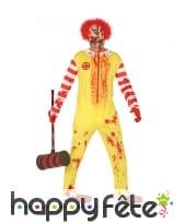Déguisement jaune de clown tueur ensanglanté