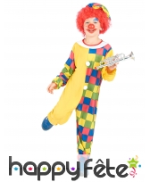 Déguisement jaune et multicolore de petit clown