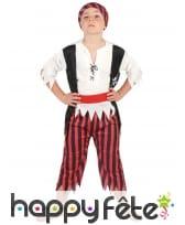 Déguisement ligné rouge et noir d'enfant pirate, image 1