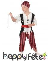 Déguisement ligné rouge et noir d'enfant pirate, image 2