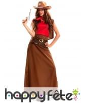 Déguisement longue robe marron de cowgirl