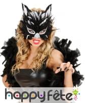 Demi-masque de chat en plumes et paillettes