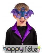 Demi-masque de chauve souris violette pour enfant