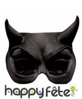 Demi-masque loup de diable noir en latex, image 1