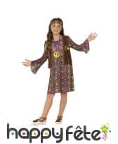 Déguisement motifs peace and love de petite hippie, image 1