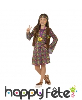 Déguisement motifs peace and love de petite hippie