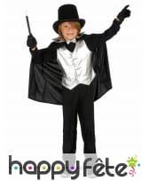 Déguisement noir argenté de petit magicien