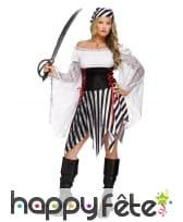 Déguisement noir blanc ligné de femme pirate