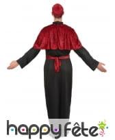 Déguisement noir de prêtre avec capeline rouge, image 2