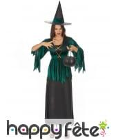 Déguisement noir et vert de sorcière robe dentelée