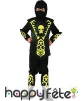 Déguisement ninja noir et jaune motif tête de mort