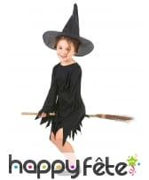 Déguisement noir uni de sorcière pour fillette, image 1