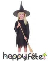 Déguisement noir uni de sorcière pour fillette, image 3