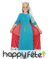 Déguisement petite reine médiévale bleue