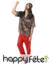 Déguisement rouge avec motifs hippie pour homme, image 1
