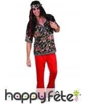 Déguisement rouge avec motifs hippie pour homme, image 3