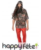 Déguisement rouge avec motifs hippie pour homme