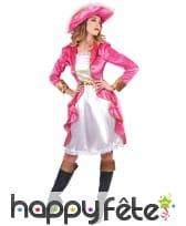 Déguisement robe blanche et rose baroque de pirate, image 1