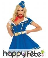 Déguisement robe bleue hôtesse de l'air