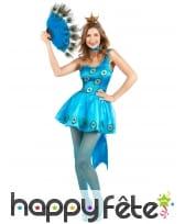 Déguisement robe bleue paon pour femme