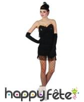 Déguisement robe charleston noire sexy à franges, image 3