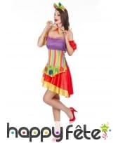 Déguisement robe colorée courte de clown, image 1