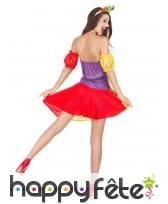 Déguisement robe colorée courte de clown, image 2