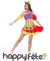Déguisement robe colorée courte de clown