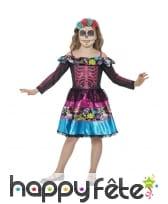 Déguisement robe colorée jour des morts pour fille
