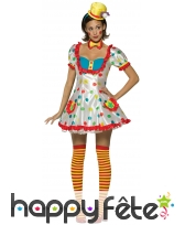 Déguisement robe courte à pois de clown femme