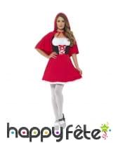 Déguisement robe courte de chaperon rouge adulte