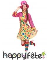 Déguisement robe courte de clown à pois colorés, image 1